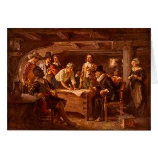 Cartão O estojo compacto de Mayflower por Jean Leon