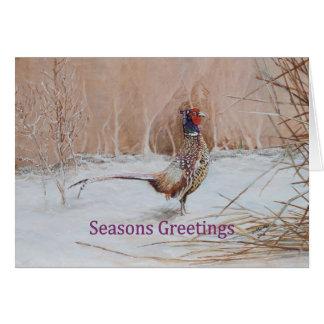 Cartão O faisão na neve tempera a arte do cumprimento