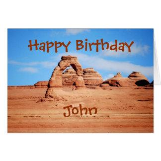 Cartão O feliz aniversario de John, arco delicado,