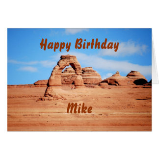 Cartão O feliz aniversario de Mike, arco delicado,