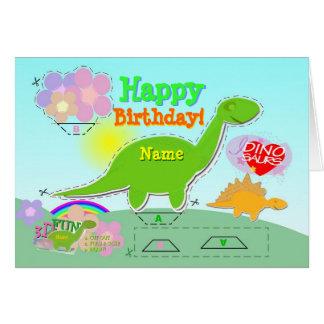 Cartão O feliz aniversario Dino 3D conhecido cortou &