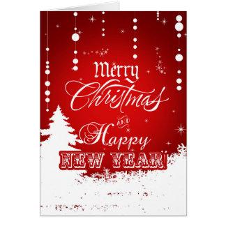 Cartão O feliz ano novo branco vermelho incorporado do