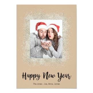 Cartão O feliz ano novo com quadro de prata do brilho