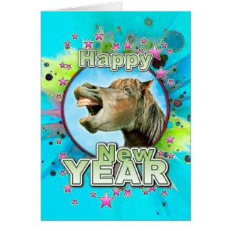 Cartão O feliz ano novo do cavalo de riso