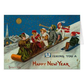 Cartão O feliz ano novo do divertimento do inverno