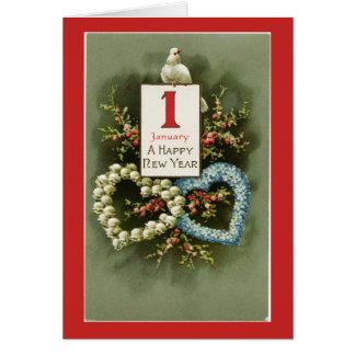 Cartão O feliz ano novo do vintage