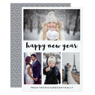 Cartão O feliz ano novo simples e na moda de quatro fotos
