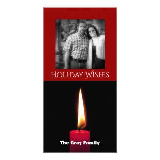 Cartão O feriado deseja à vela | a foto vermelha do Natal