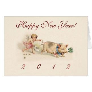 Cartão O feriado engraçado bonito de ano novo do porco e