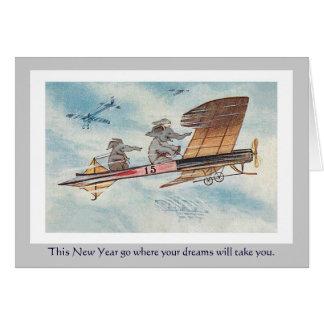 Cartão O feriado engraçado de ano novo do vintage dos