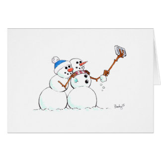 Cartão O feriado Selfie do boneco de neve