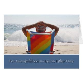Cartão O filho na lei, praia do dia dos pais do oceano,