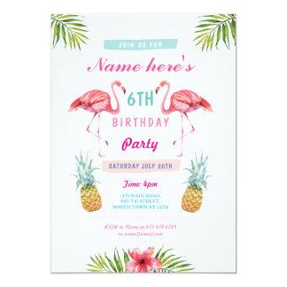 Cartão O flamingo convida o aniversário tropical do