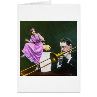 Cartão O Flapper do trombone dos jogos do homem dança na