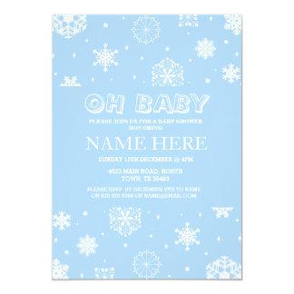 Cartão O floco de neve azul do menino do chá de fraldas