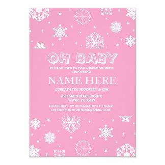 Cartão O floco de neve do rosa da menina do chá de