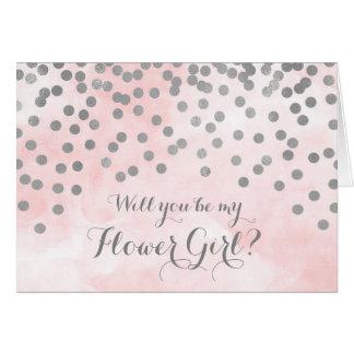 Cartão O florista cor-de-rosa dos confetes da prata da