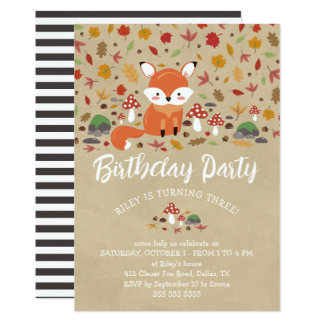 Cartão O Fox da queda caçoa a festa de aniversário da
