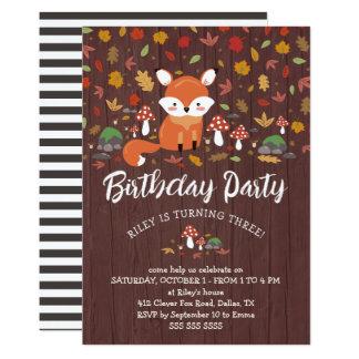 Cartão O Fox do outono caçoa a festa de aniversário da