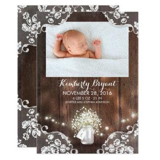 Cartão O frasco de pedreiro ilumina o nascimento