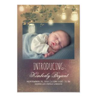 Cartão O frasco de pedreiro rústico ilumina o nascimento