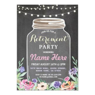 Cartão O frasco floral do partido de aposentadoria