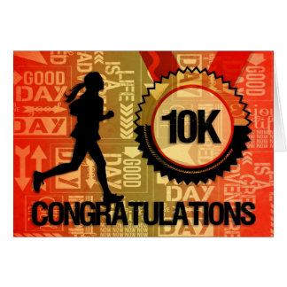 Cartão o funcionamento 10K felicita o corredor fêmea