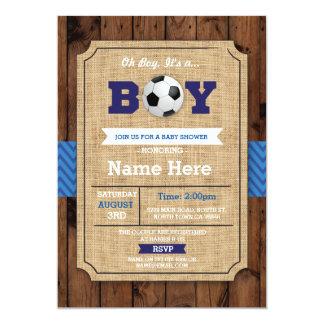Cartão O futebol de madeira azul do menino do chá de