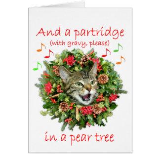 """Cartão O gatinho canta """"doze dias do Natal """""""