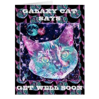 Cartão O gato da galáxia diz obtem bem