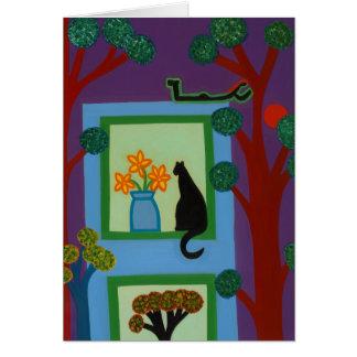 Cartão O gato do crescente oblíquo 2008