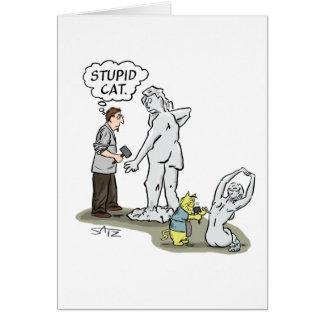 Cartão O gato engraçado que é um escultor melhor do que o