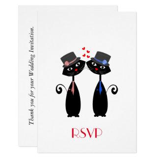 Cartão O gato legal do casamento gay prepara RSVP Wedding