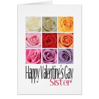 Cartão O gay dos namorados da irmã, rosas do arco-íris