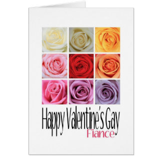 Cartão O gay dos namorados do noivo, rosas do arco-íris