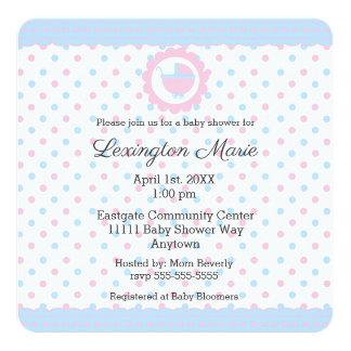 Cartão O género cor-de-rosa e azul do chá de fraldas das