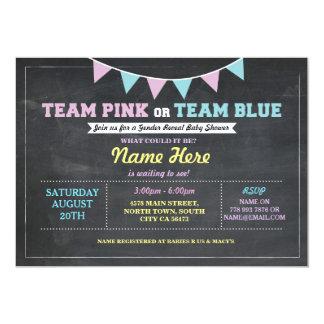 Cartão O género cor-de-rosa ou azul da equipe revela o