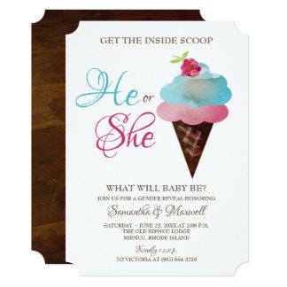 Cartão O género do sorvete revela convida