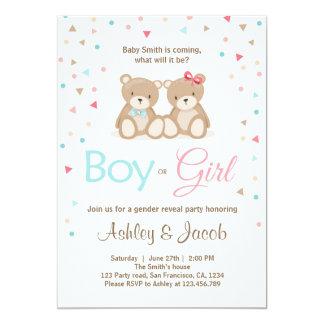 Cartão O género do urso de ursinho revela o menino ou a