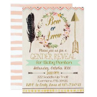 Cartão O género revela o convite, os arcos ou as setas,
