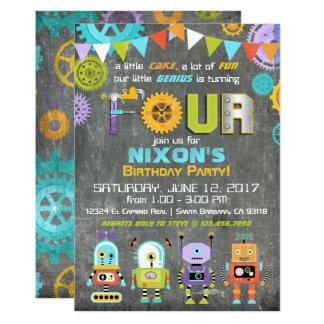 Cartão O gênio do robô alinha o aniversário do quadro das