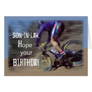 Cartão O genro ostenta o aniversário do Mountain bike