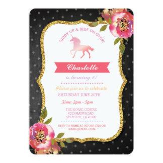 Cartão O giz do partido do cavalo floral convida o