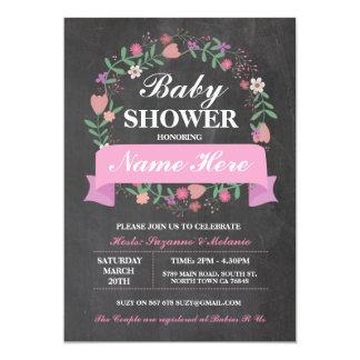 Cartão O giz floral do rosa do rosa do chá de fraldas da