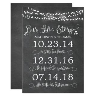 Cartão O giz ilumina nossa decoração do casamento do