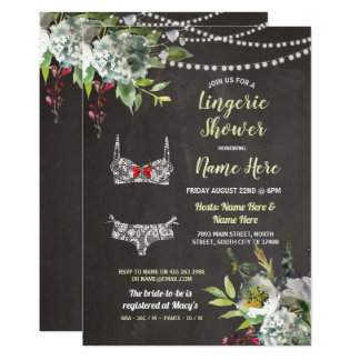 Cartão O giz nupcial floral do chá da lingerie convida