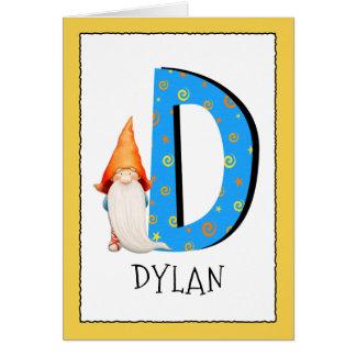 Cartão O gnomo caçoa o nome da letra D e o cumprimento do