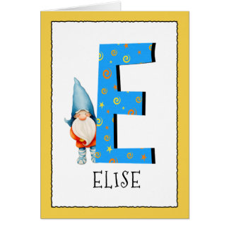Cartão O gnomo caçoa o nome da letra E e o cumprimento do