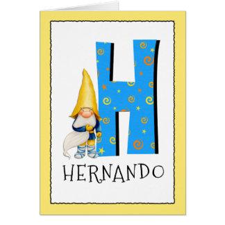 Cartão O gnomo caçoa o nome da letra H e o cumprimento do