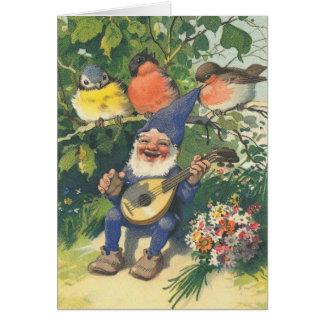 Cartão O gnomo musical alegre